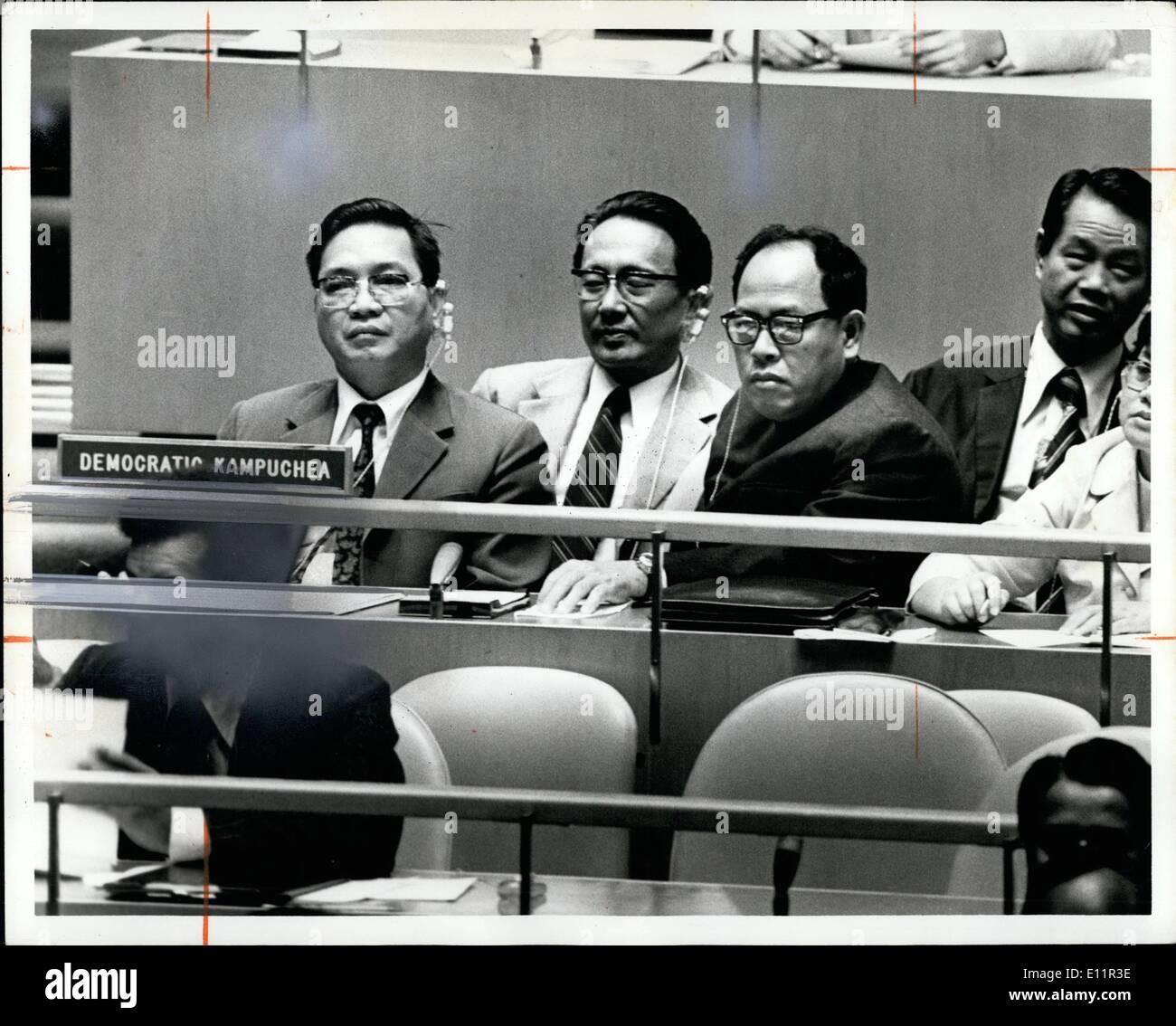 Sep. 09, 1979 - Democratic Kampuchea Pol Pot faction delegation un General Assembly. Ieng Sary right - Stock Image