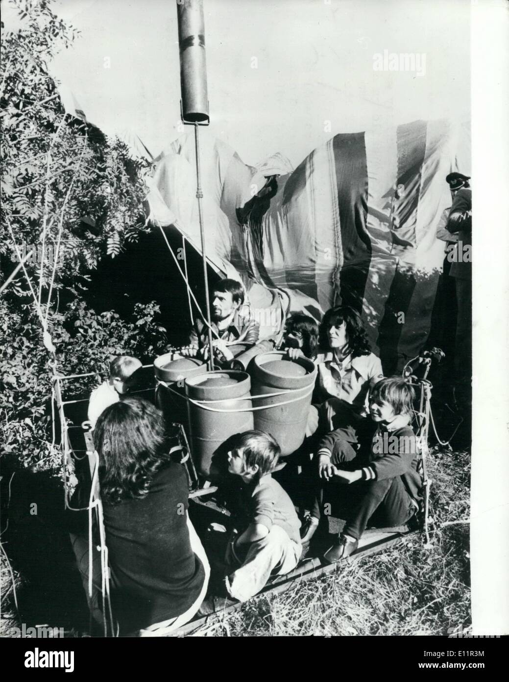 Sep. 09, 1979 - Families escape from East Germany in Home made hot air balloon: Two families made the most fantastic defection over by flying across the East German Border into West Germany in a home-made hot-air balloon. Four adults and four children, the youngest only two years, made a 30 minutes flight to freedom on a wooden platform only 4 1/2 ft. square. The balloon envelope, 137ft. high and 114ft. across stitched together by the two wives from nylon sheets and curtains the East German village of Possack, in the provice of Thuringia, Six miles south lay the border, Bavaria and freedom - Stock Image