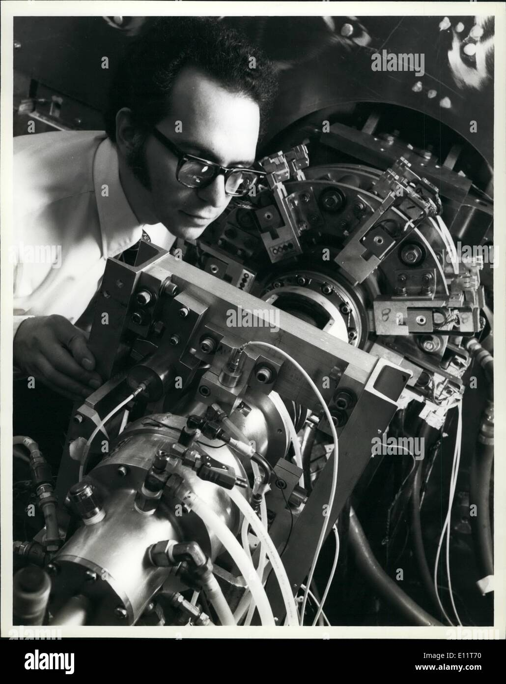 Nov. 11, 1979 - General Electric engineers announced today that they had successfully put the key component of an advanced superconducting generator thought its most severe qualifying test spinning its 13 foot long, one and one half ton rotor at 3,600 revolutions per minute while cooled to a frigid 452 F below zero. the tests at the GE Research and development center in Schenectady, NY. confirmed that the experimental generator could be able to produce as much electricity as a conventional generator twice its size and weight. Following one of the tests, Dr. Trifon E - Stock Image