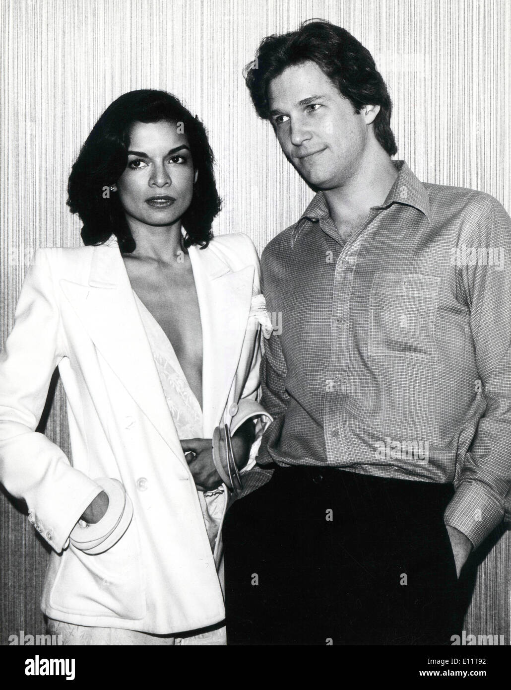 Actress Bianca Jagger with co-star Jeff Bridges - Stock Image