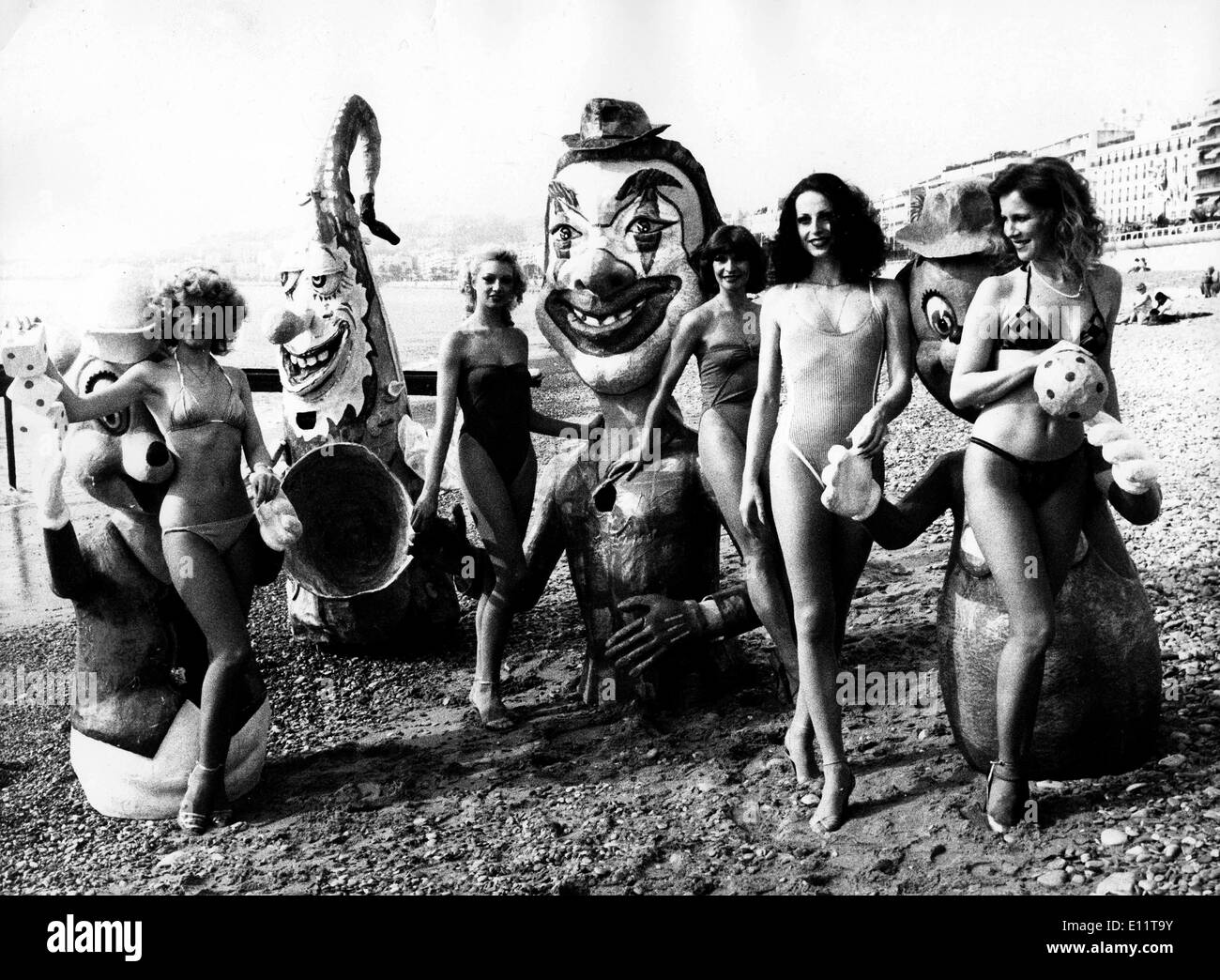 Feb 15, 1980; Nice, FRANCE; Carnival in the Sun: French models wearing  bathing suits at the French Riviera during the French carnival celebrations.