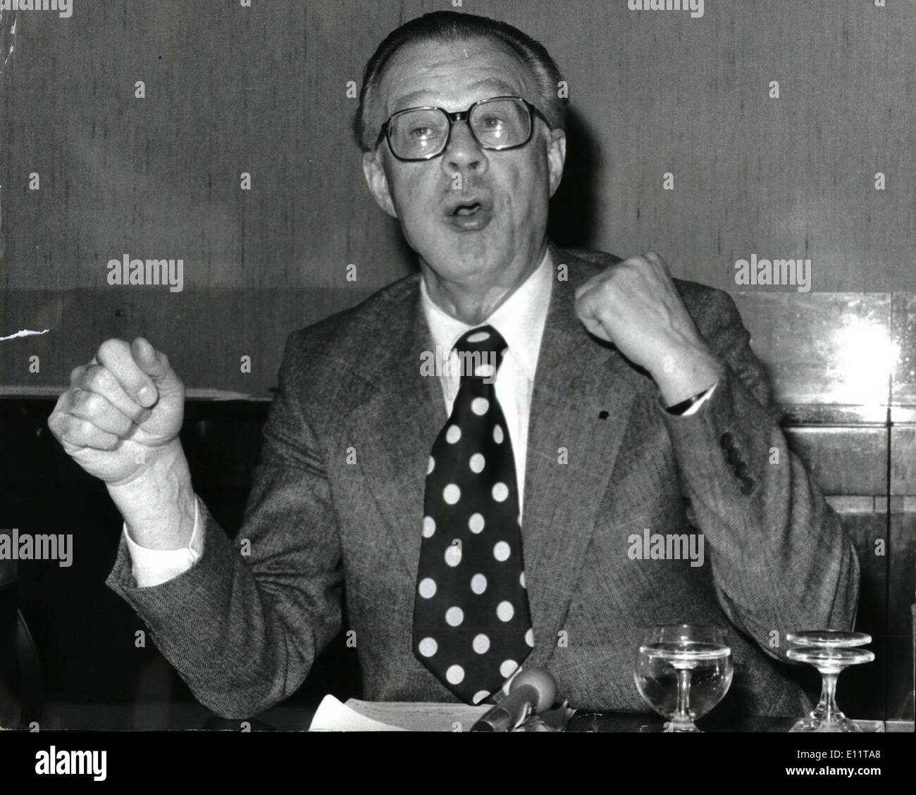 Feb. 20, 1980 - February 20th 1980 Sir Charles Villiers in a fighting mood. An angry Sir Charles Villiers, chairman - Stock Image