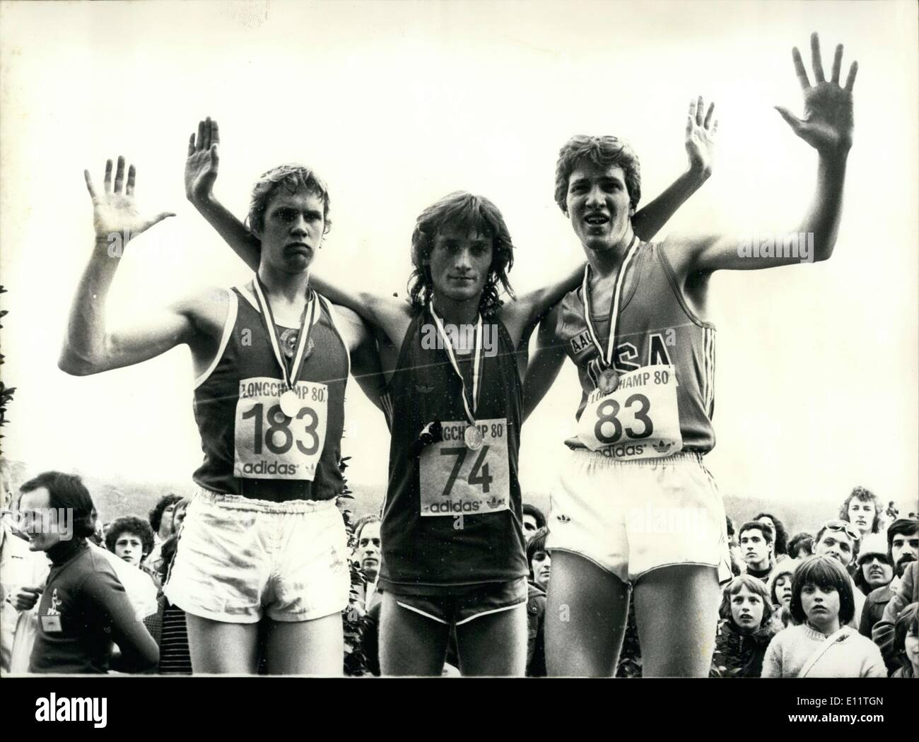 Mar. 10, 1980 - On the podium, left to right: Soviet Union's Valery Gryaznov (2nd), Gorge Garcia (1st), and America's Edward Eyestone (3rd) - Stock Image