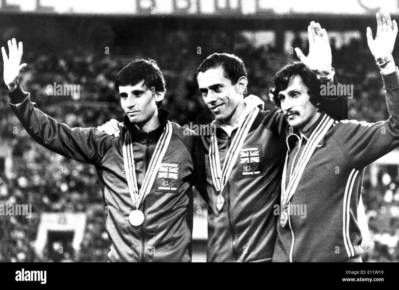 Jul 09, 1980; Moscow, RUSSIA; L-R SEBASTIAN COE, STEVE OVETT, and NIKOLAI KIROV after the final of the 800 meters. Ovett UK - Stock Image