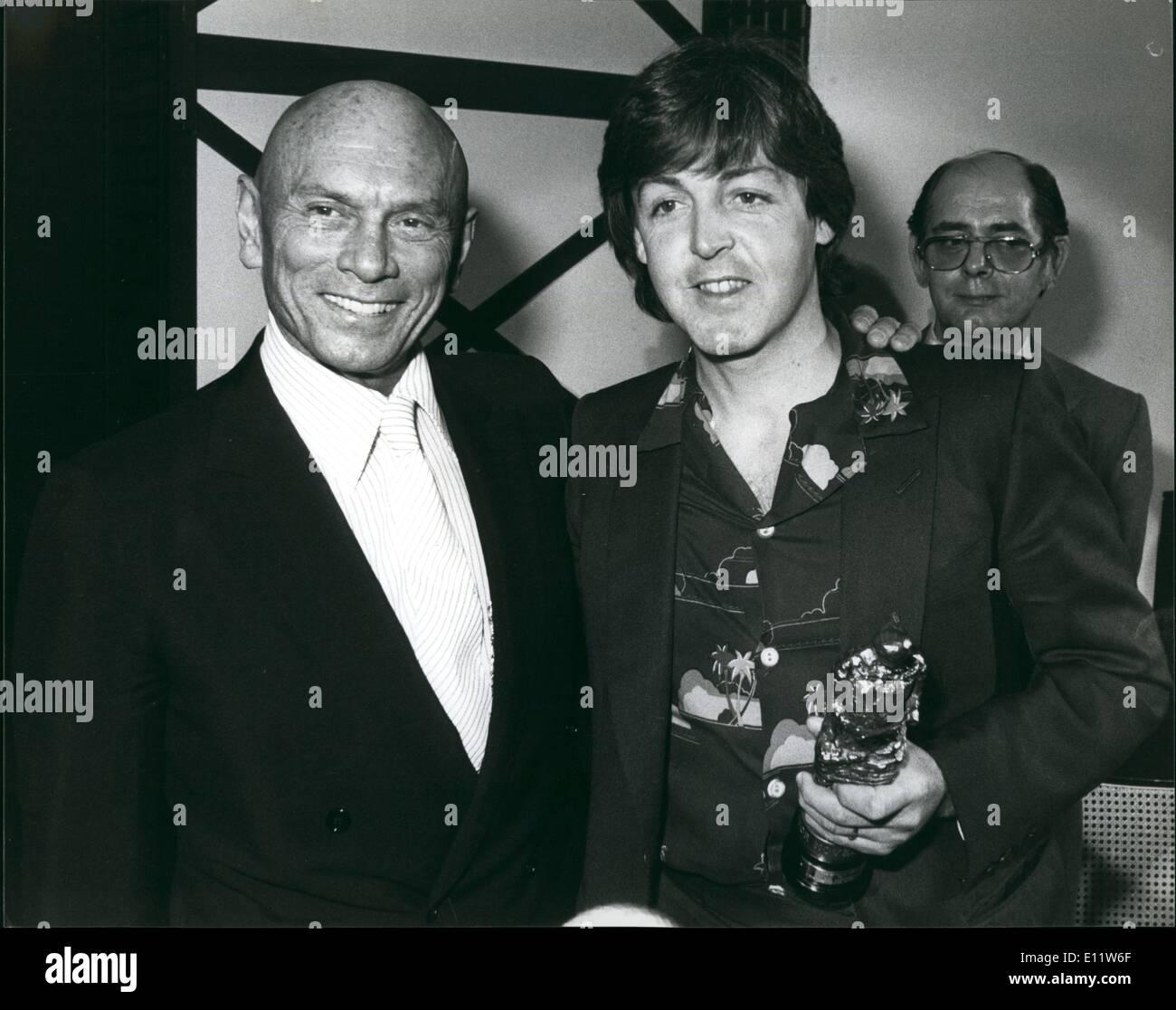 May 05, 1980 - Yul Brynner presents Ivor Novello Awards: The presentation of the Ivor Novello Award took place at Stock Photo