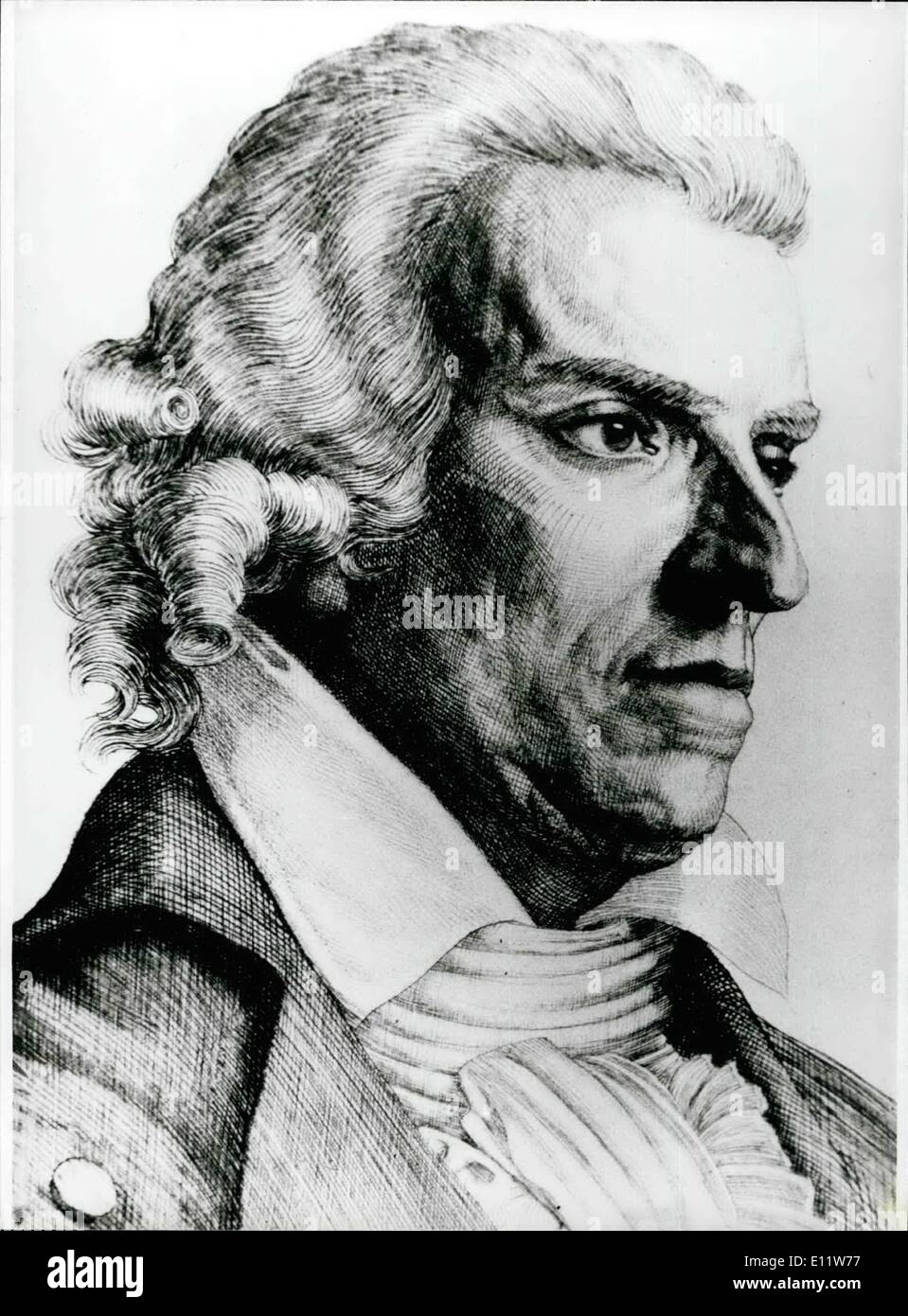 May 05, 1980 - 175th Day Of Death Of Friedrich Von Schiller: At May 9th, 1805 died in Weimar during working on his play ''Demetrius'', Friedrich von Schiller (Friedrich Von Schiller, our picture shows a contemporary engraving). He was burried in the night from 11th to 12th May 1805 on the cemetery of the Jakobschurch and from there transported to the sovereigns vault on May 16th. Schiller, born at November 10th 1759 in Marbach as son of an army-surgeon and a proprietors daughterstudied first law and later from 1775 physics - Stock Image