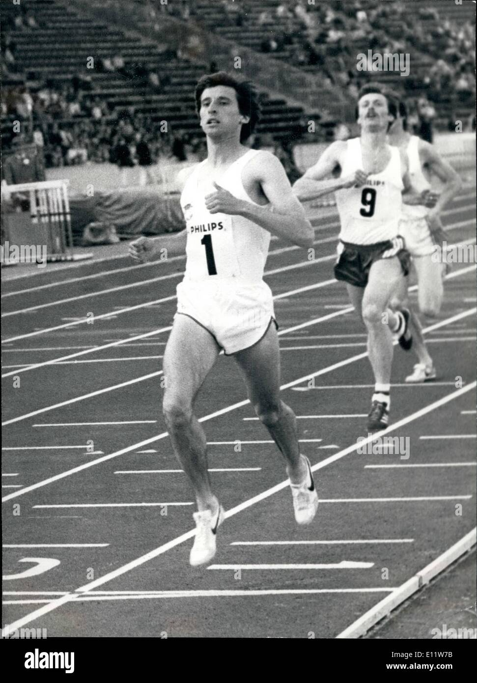 May 05, 1980 - SEBASTIAN COE WINS 800METRES AT CRYSTAL PALACE Sebastian. Coe cruises to victory in the 800 Metres in the Philips Nilht of Athletics at the Crystal Palase,in London last night in his buildup to the Mosaow Olympias, - Stock Image
