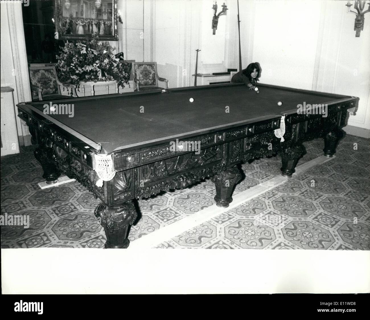 May 05, 1980 - Billiard table expected to fetch £20,000: A superb Australian full - size carved blackwood billiard table is up for sale at Christies sale of billiard tables and other sporting equipment today. The carved and panelled frieze depicts scenes of Australian social history including gold prospectors and a man and his horse being attacked by aborigines. Dating from the late 1870s and taking two years to complete the table was once loaned to Buckingham Palace where it was admised by Queen Victoria and used by the Prince of Wales. Photo shows Mrs - Stock Image