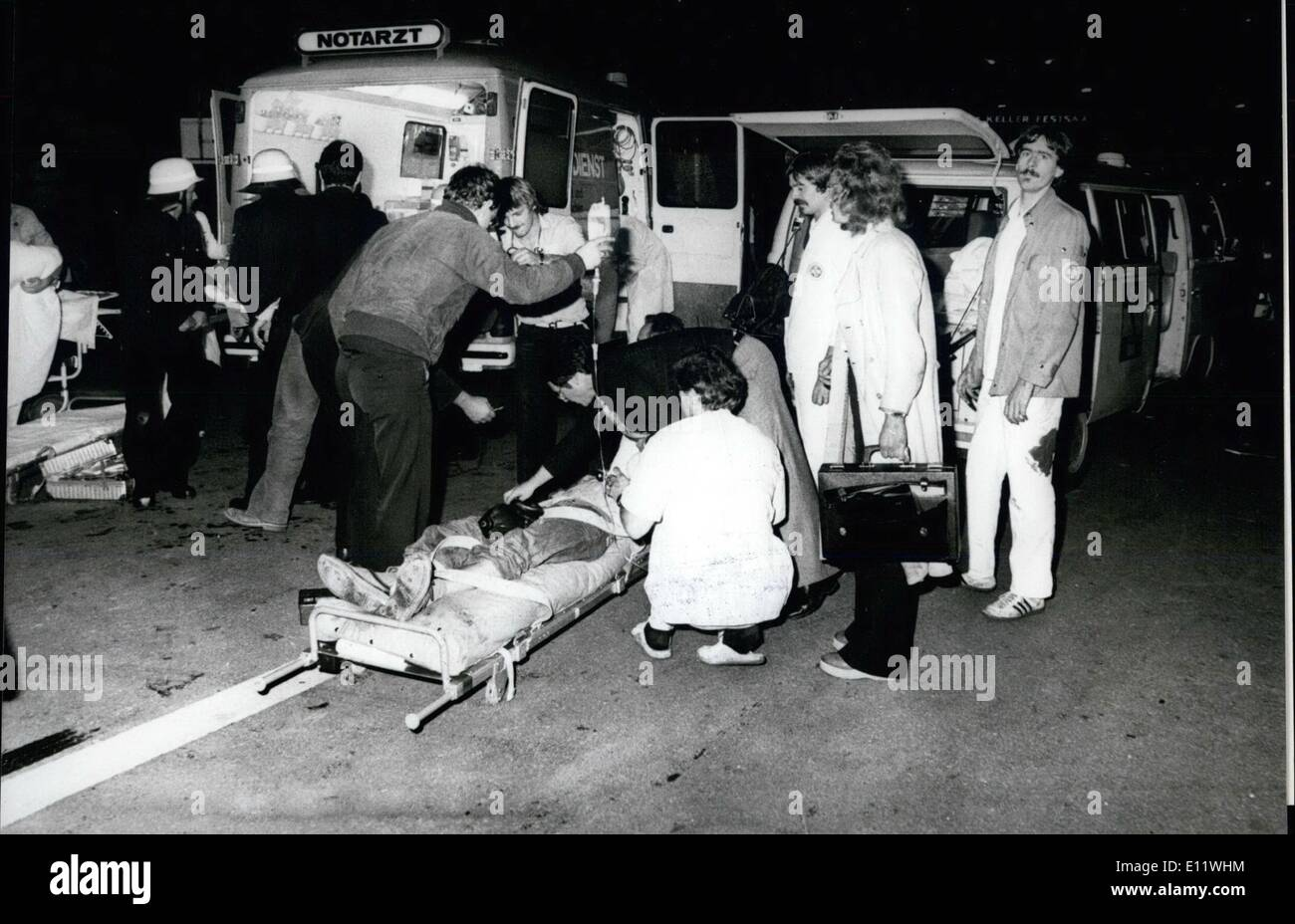 Sep. 09, 1980 - Terrible Bomb-Explosion at Munich ''Oktoberfest'' A terrible disaster happend at the famous ''Oktoberfest'' in Munich/West Germany in the evening of September 26th, 1980. About 22:30 O'clock at the main-exit of the Theresienwise a delayed action cap, which has been deposited in a wate-paper basker, explosed. Only some munutes after the terrible disaster all available fire-brigades, ambulances, also police and different relief organizations have been in action - Stock Image