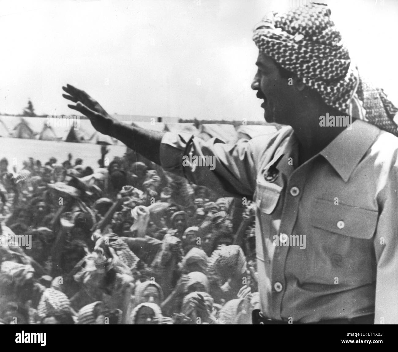 Iraq Leader SADDAM HUSSEIN addressing members of his armed forces shortly before the Invasion of Iran - Stock Image