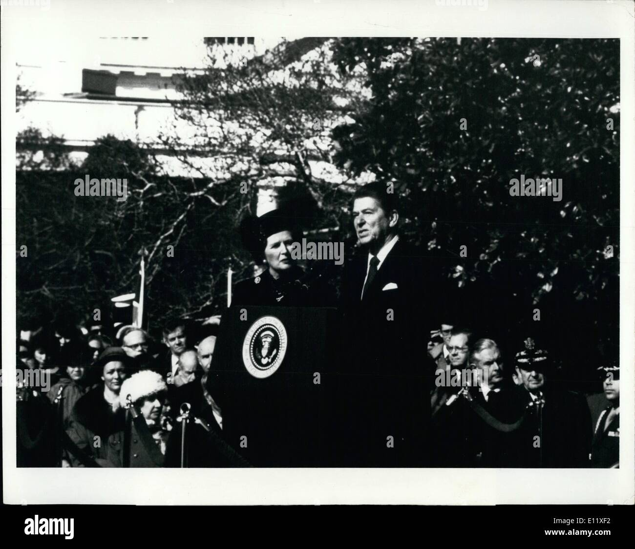 Feb. 02, 1981 - Welcome Ceremonies For P.M. Thatcher. President Ronald Reagan speaks at arrival ceremonies on The South grounds - Stock Image