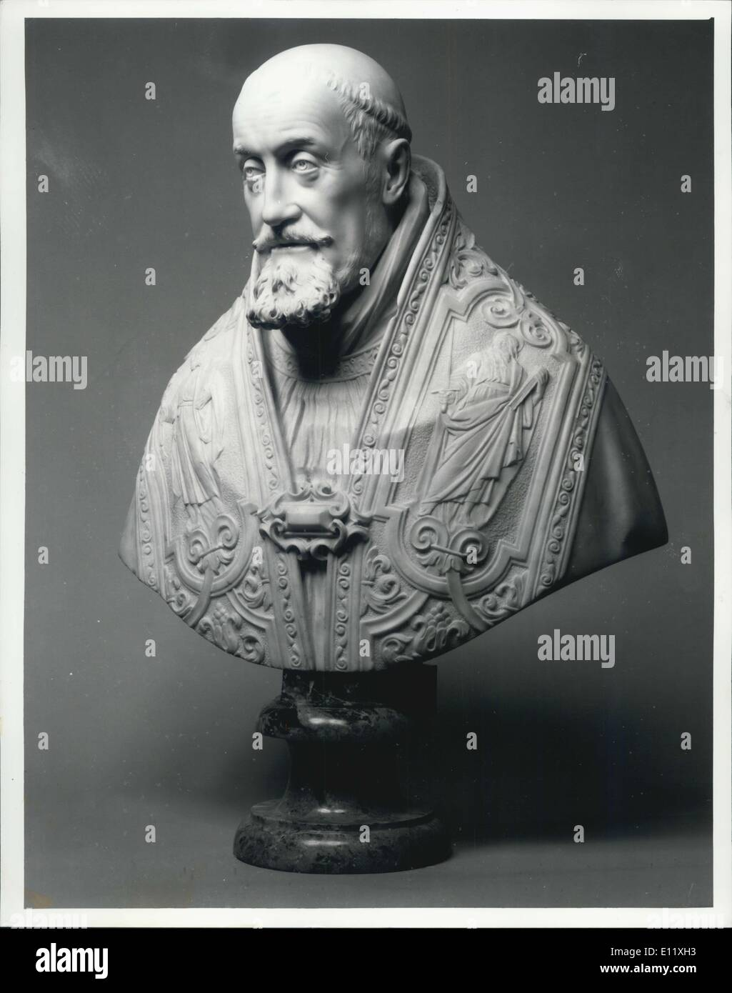 Oct. 21, 1980 - Recently Discovered Bernini Bust Of Pope For George XV To Be Sole At Sothbey's: The recently discovered marble bust of Pope Gregory XV which has been identified by the Victoria and Albert Museum as probably the last masterpiece by the Baroque sculpture Giovanni Lorenso Bernin, will come up for auction in December. Photo shows The Roman marble of Pope Gregory XV attributed to Bernini, Circa 1621. - Stock Image