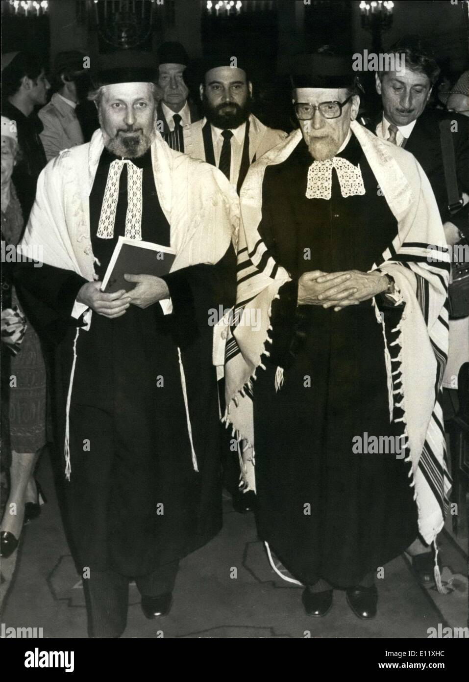 Oct. 24, 1980 - Three of the top Jewish personalities of France met at the synagogue on Rue de la Victoire: Alain Goldmann (left), France's Head Rabbi Jacob Kaplan (right), and his future successor, Rabbi Rene Sirat. - Stock Image