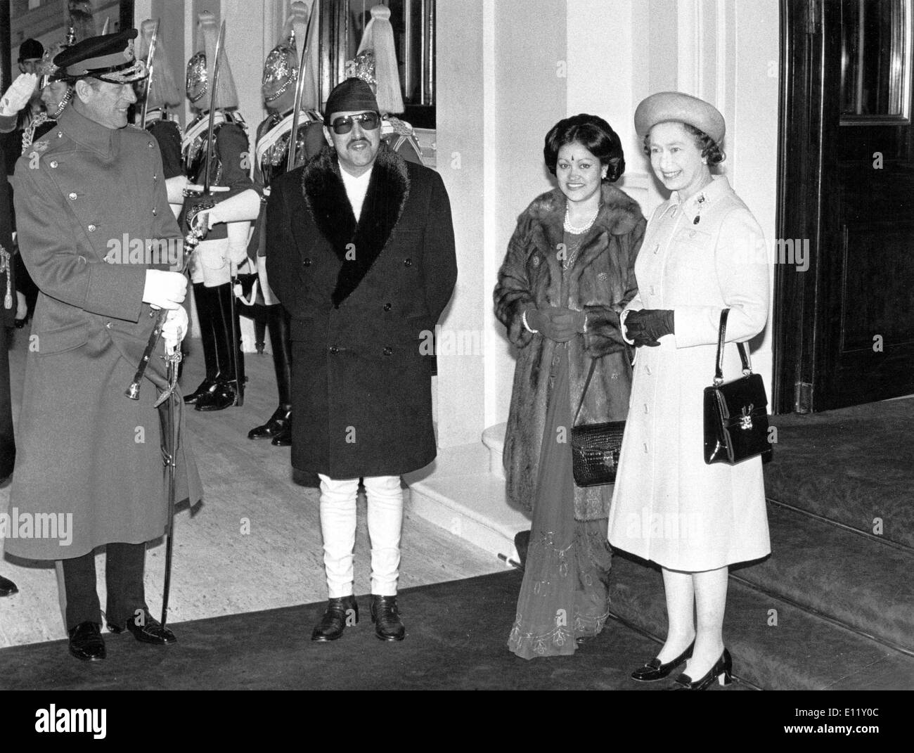 Elizabeth II and Prince Philip with Nepal royals - Stock Image