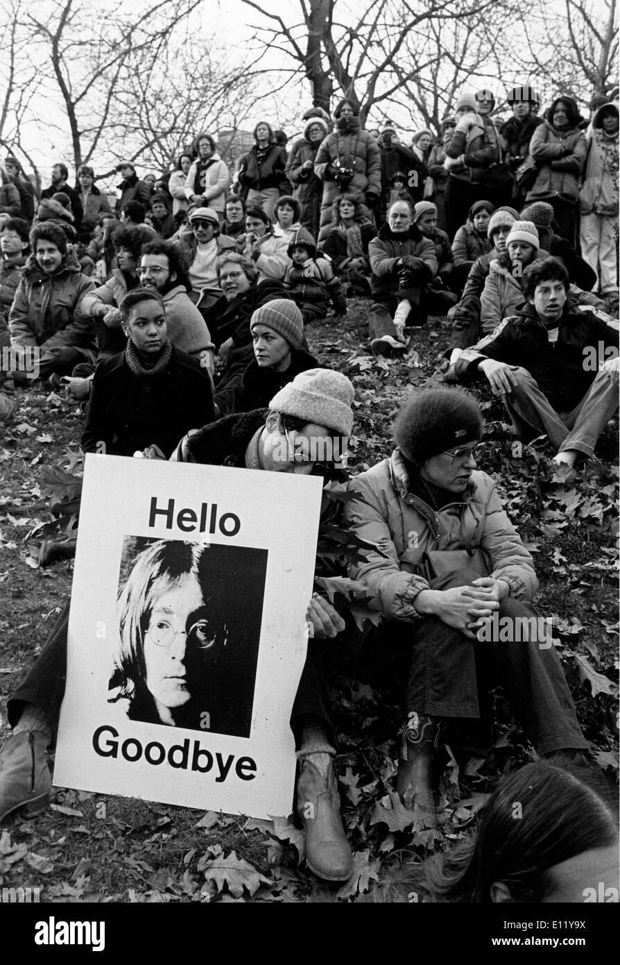 Vigil in Central Park for Beatles John Lennon - Stock Image