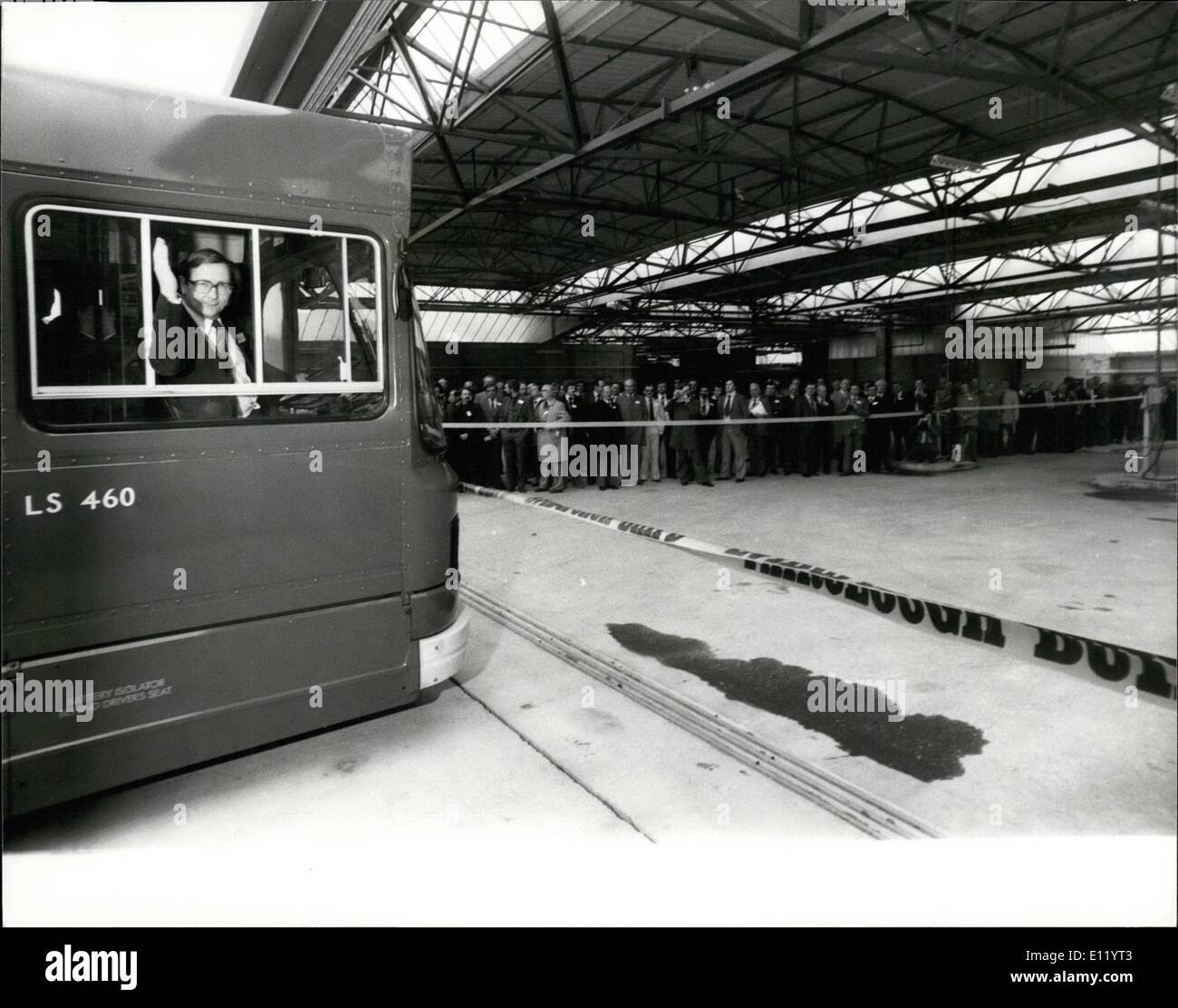 Apr. 04, 1981 - Ash Grove bus garage at Hackney opened: London's first completely new bus garage for 27 year Ash Grove Hackney was , officially opened today by Mr Ian Mcleod, Chairman of the London Transport passengers Committee , this new garage cost 3 1/2 million to build, and will house 170 buses serving 12 routes. Photo shows Dr David Quarmby, Managing Director of London Buses, who is a qualified driver, seen driving the first bus through the tape at the new Ash Grove buse garage today. - Stock Image