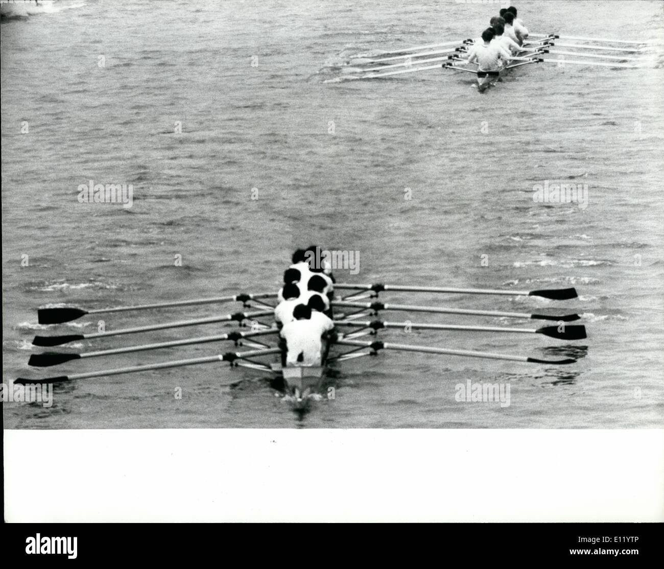 Apr. 04, 1981 - Oxford Beat Cambridge By Eight-Lengths Photo Shows: Oxford well in front of Cambridge as they come up to Hammersmith Bridge during the boat race. - Stock Image