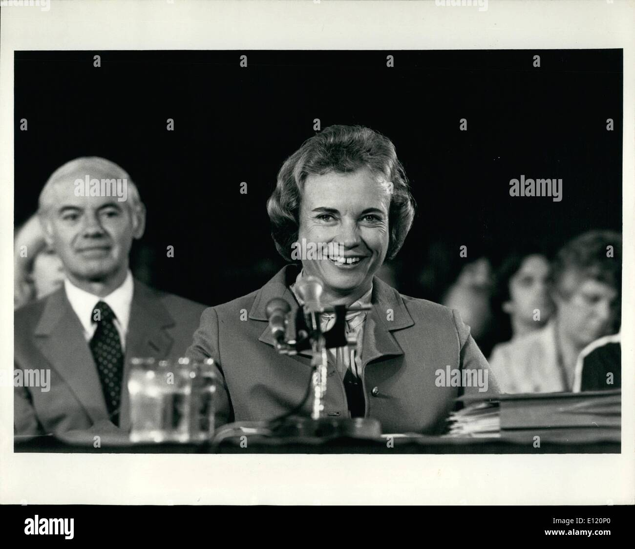 Sep. 09, 1981 - Judge O'Connor Testifies Arizona Judge Sandra O'Connor (above) as she testifies before the Senate Judiciary Committee at her confirmation hearings. If voted on favourable, which is a certainty, she will become the first woman to sit on the U.S. Supreme Court. - Stock Image