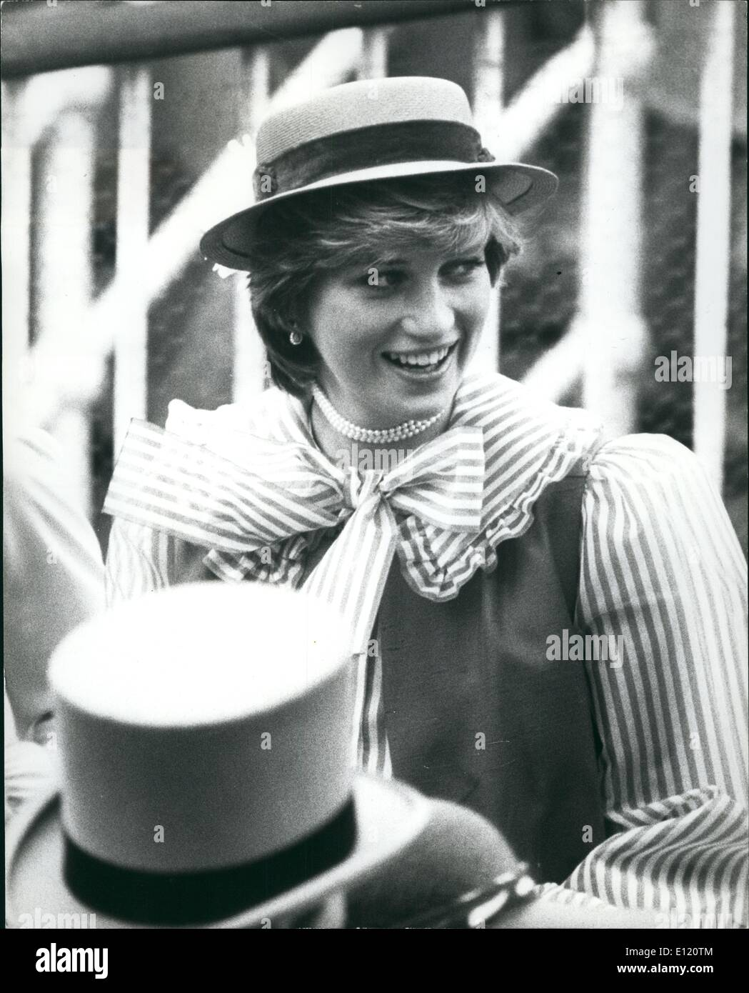 Jun. 06, 1981 - Lady Diana The Toast Of Ladies' Day At Ascot: Lady Diana Spencer wearing a red straw boater and red-and-white candy-striped blouse at Royal Ascot yesterday. - Stock Image
