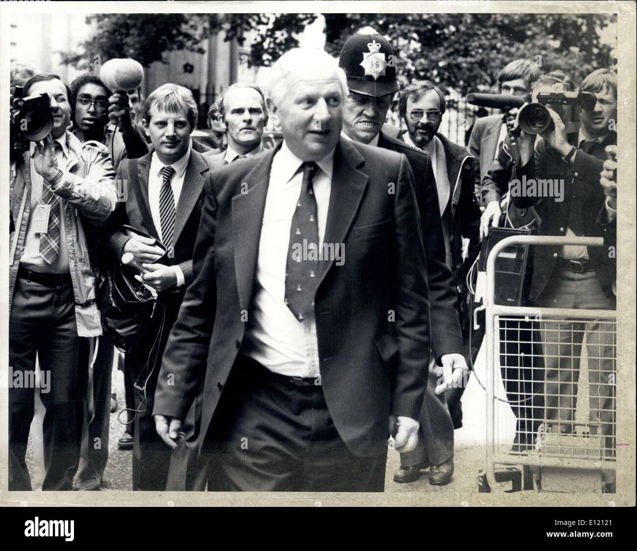 Sep. 14, 1981 - Mrs. Thatcher Shuffles her Cabinet: Employment Secretary James Prior, leading moderate in the cabinet has been the key figure in Mrs. Thatcher plans for major changes in her government. It is expected that the new cabinet will be announced today, their first meeting will be tomorrow. Photo Shows James Prior surrounded by journalists leaving No 10 after meeting the Prime Minister. - Stock Image
