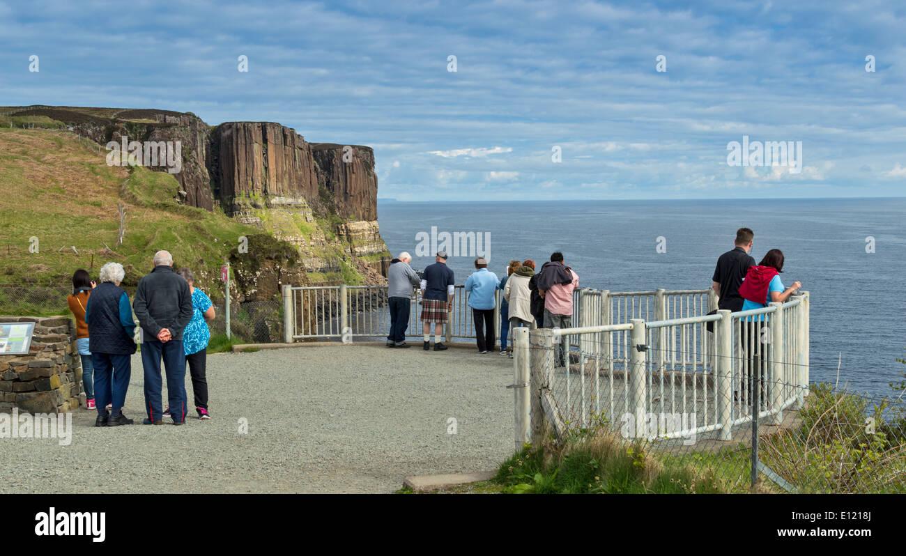 TOURISTS AT KILT ROCKS AND MEALT WATERFALL NEAR ELISHADER  ON THE ISLE OF SKYE SCOTLAND - Stock Image