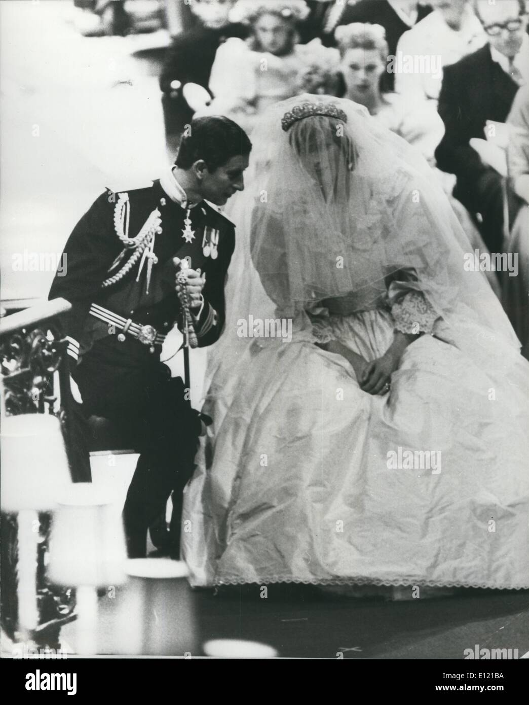 Jul. 07, 1981 - The Royal Wedding: Prince Charles and Lady Diana have a quite chat during the ceremony in St Paul's Cathedral today. Stock Photo