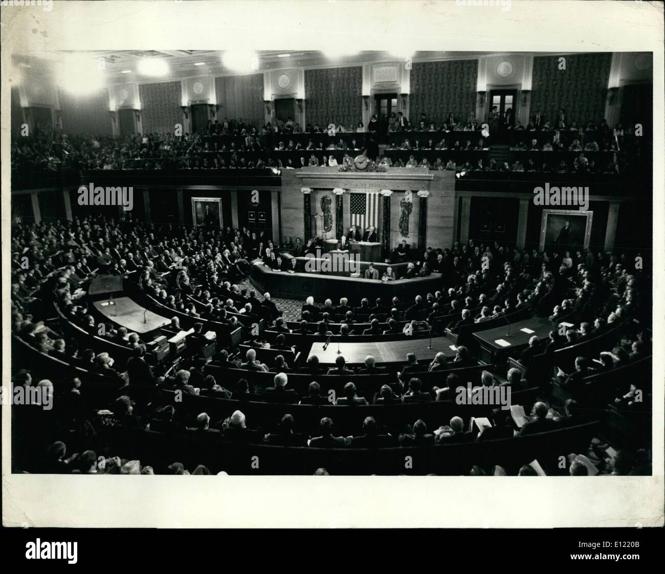 Jan. 01, 1982 - Reagan Would Do Away With Welfare Programs Washington, D.C.: General view of President Ronald W. Reagan as he addressed a Joint Session of The U.S. Congress this evening at the U.S. Capitol. Reagan proposed doing away with the welfare and food stamp program and delegating this project to the fifty states. He will not ask for a tax increase this year and lauded his program of lower inflation and reduced taxes. - Stock Image