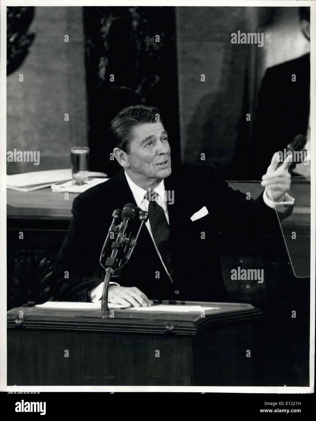 Jan. 26, 1982 - Welfare And Food Programs Out Washington, D.C.: President Ronald W. Reagan speaks to a Joint Session of The U.S. Congress tonight and lauded his programs of reduced taxes and lower inflation, etc. Reagan later proposed having the states finance the welfare and food stamp programs. - Stock Image