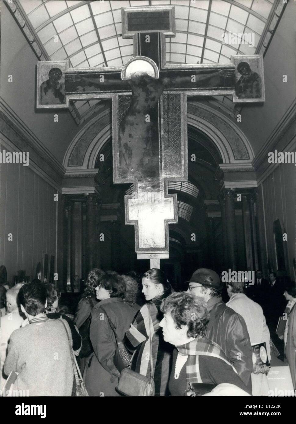Dec. 07, 1982 - Badly damaged after the floods that ravaged Florence, Italy in November of 1966, the crucifix of Santa Croce has been the object of a long and exemplary restoration in the labs of museums of Florence. The crucifix of Santa Croce was painted by Ceni Di Pepi, called Cinabue (1240-1302). The crucifix is painted on canvas which is glued to a board according to rules instituted by Cennini later on. The famous crucifix of Cinabue was restored by Umberto Baldini during the 10 years following the catastrophe in Florence - Stock Image