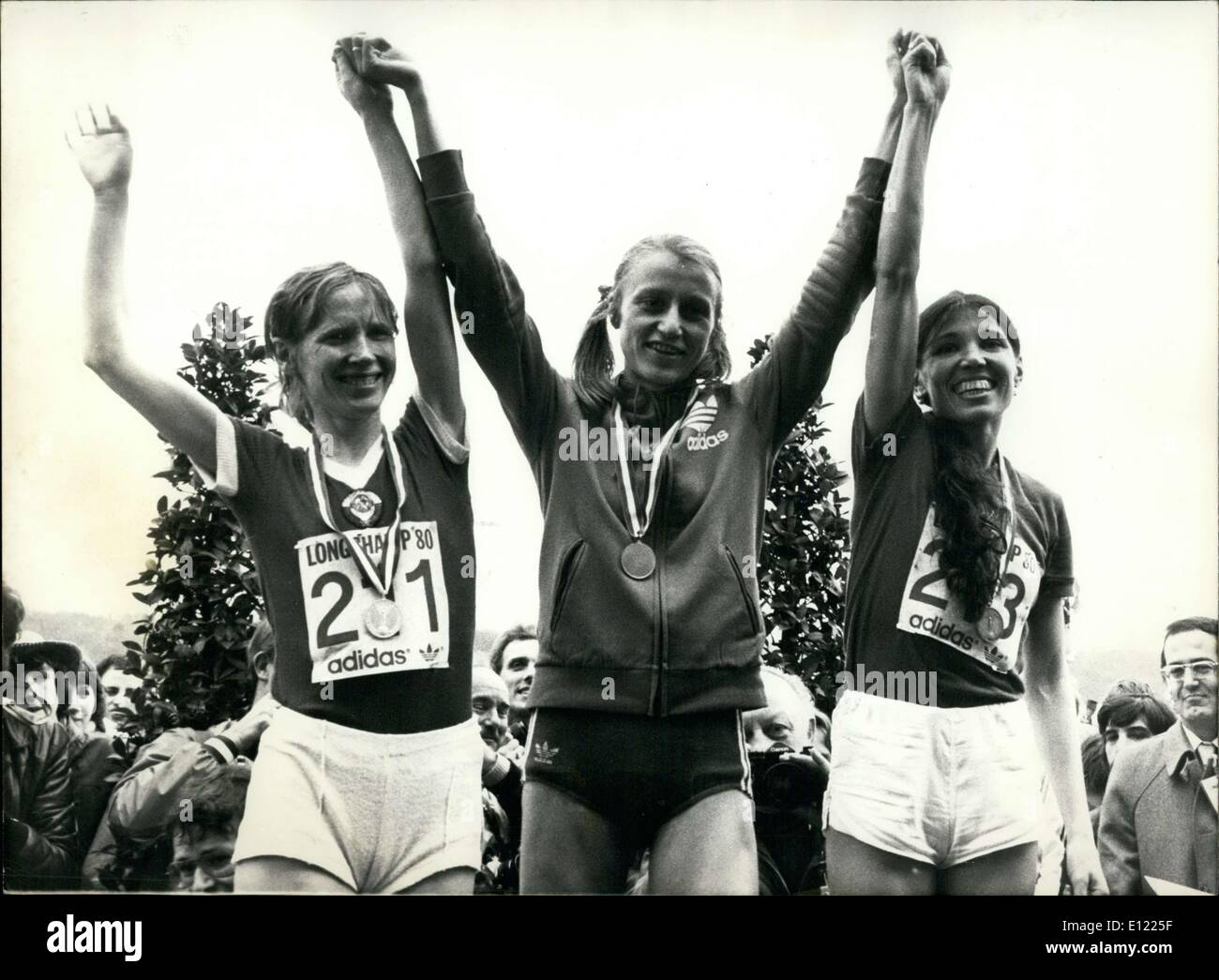Mar. 10, 1983 - On the podium, left to right: Soviet Union's Irina Bondartsuk (2nd), Norway's Grete Waitz (1st), and another Soviet, Elen Sipatova (3rd) - Stock Image