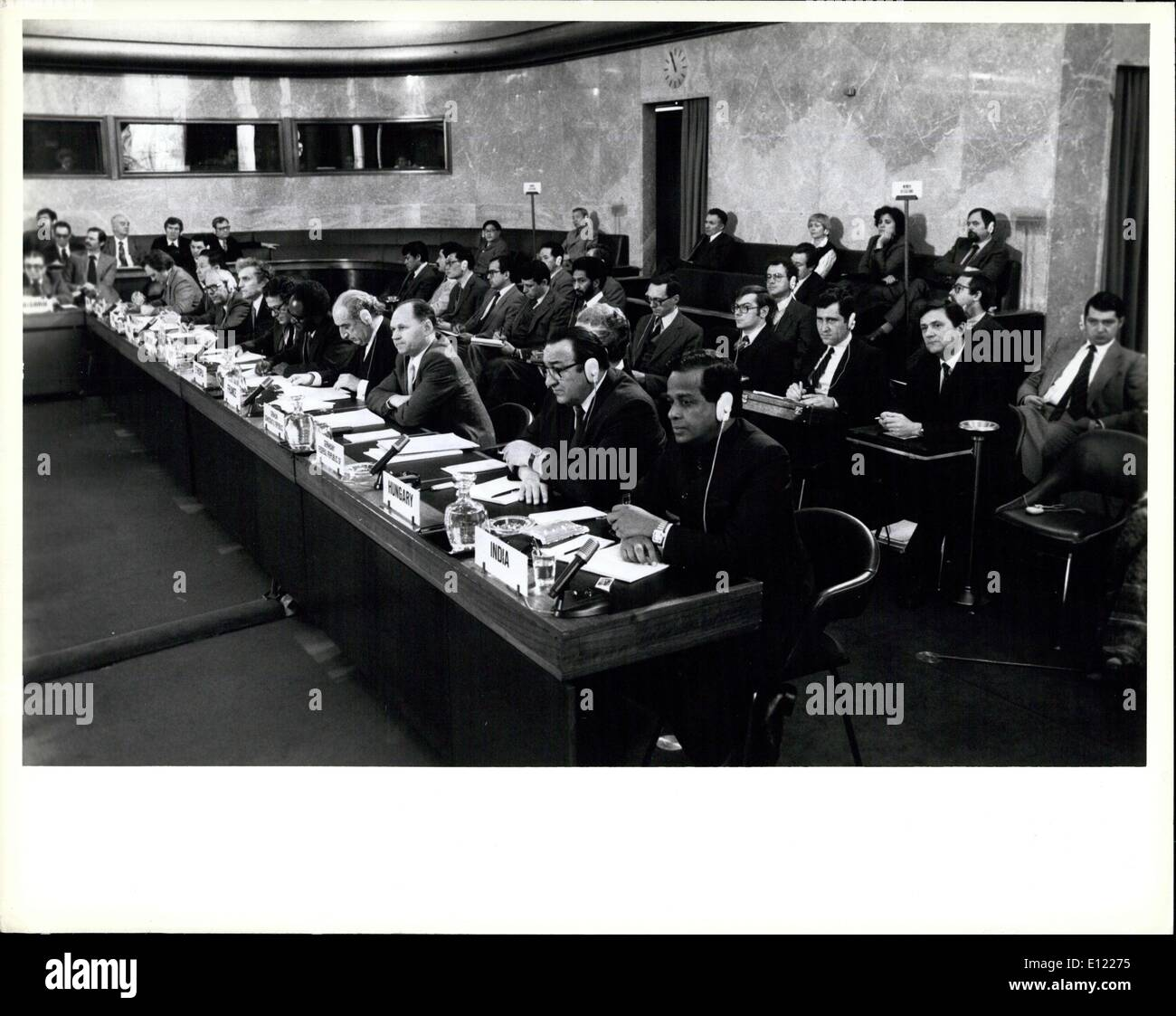 Feb. 02, 1982 - Committee on Disarmament begins 1982 session. United Nations, Geneva, 2 February 1982 ? The Committee on Disarmament, the world?s principal forum for multilateral negotiations in the field of disarmament, this morning began its 1982 session at the Palais des Nations. It has been requested to submit to the General Assembly?s Second Special Session on disarmament (New York, 7 June to 9 July, 1982) a special report on the state of negotiations of the various questions under consideration by the Committee - Stock Image