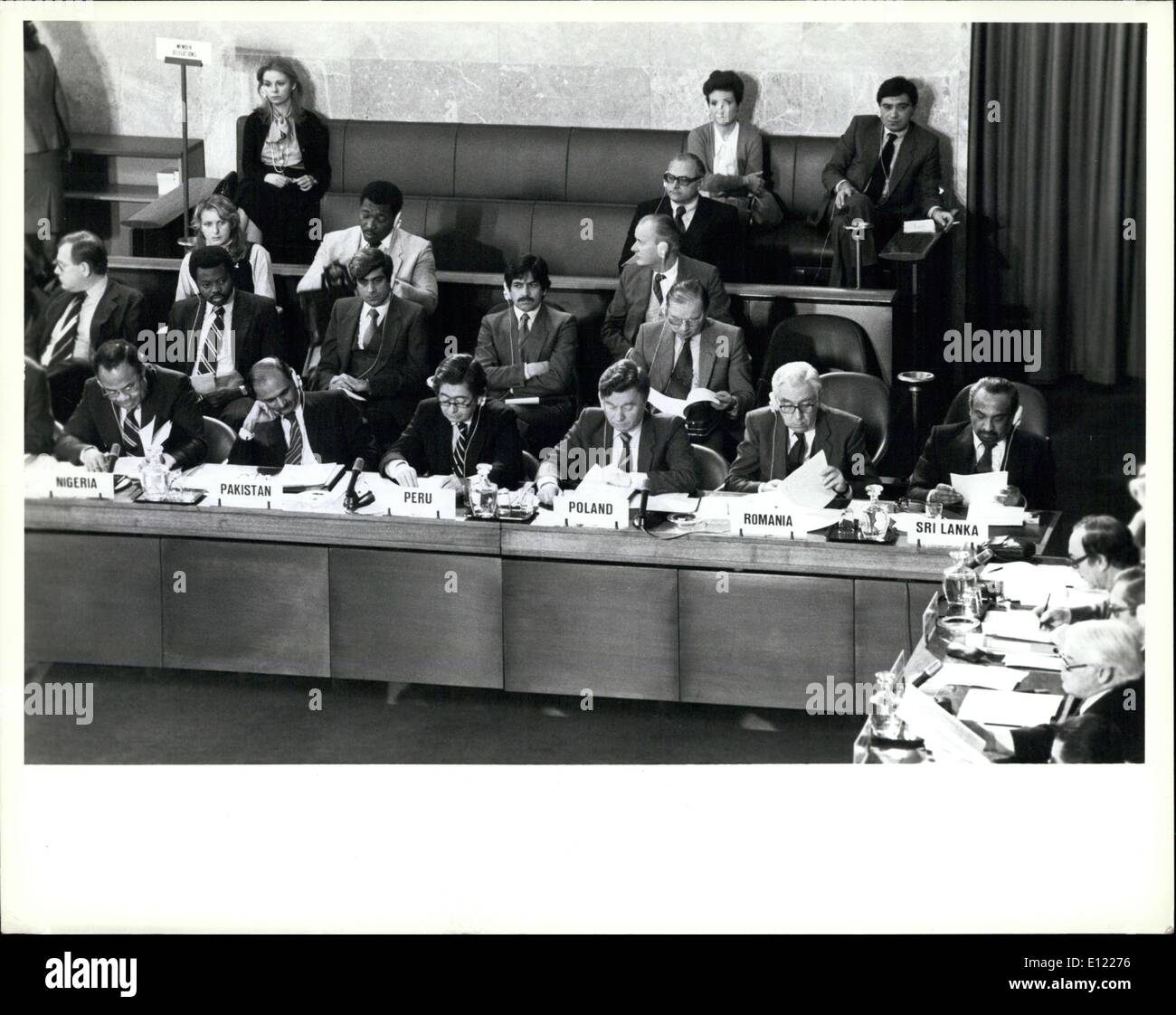 Feb. 02, 1982 - Committee on Disarmament begins 1982 session. United Nations, Geneva, 25 February 1982 ? The Committee on Disarmament, the world?s principal forum for multilateral negotiations in the field of disarmament, this morning began its 1982 session at the Palais des Nations. It has been requested to submit to the General Assembly?s Second Special Session on disarmament (New York, 7 June to 9 July, 1982) a special report on the state of negotiations of the various questions under consideration by the Committee - Stock Image
