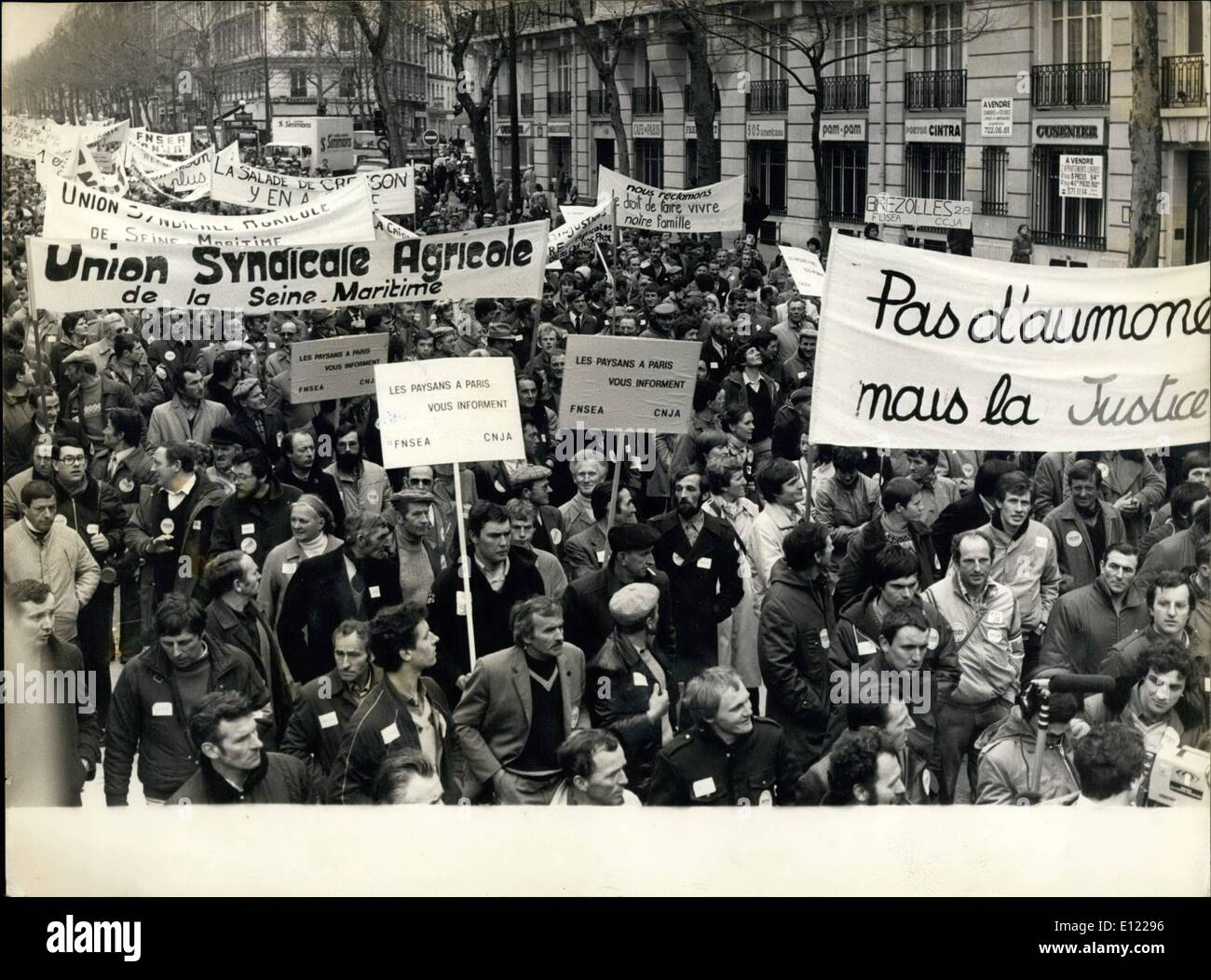 Mar. 03, 1982 - The farmers were protesting for fixed European prices and against the lowering of their revenues. The protesters walked from the Place de la Nation to the Porte de Pantin, where a meeting took place, then they passed by the Republique, and the Eastern sta - Stock Image