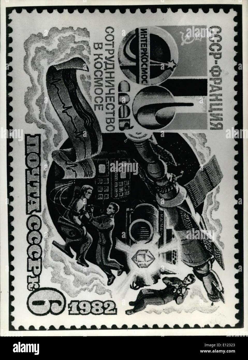 Jul. 08, 1982 - Commemorative Stamp Celebrating the Russian Space Program - Stock Image