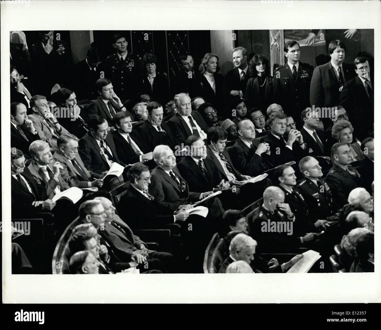 Jan. 01, 1984 - Democrats Listen: Washington, D.C. Democratic Senators are shown as they listen to President Reagan - Stock Image