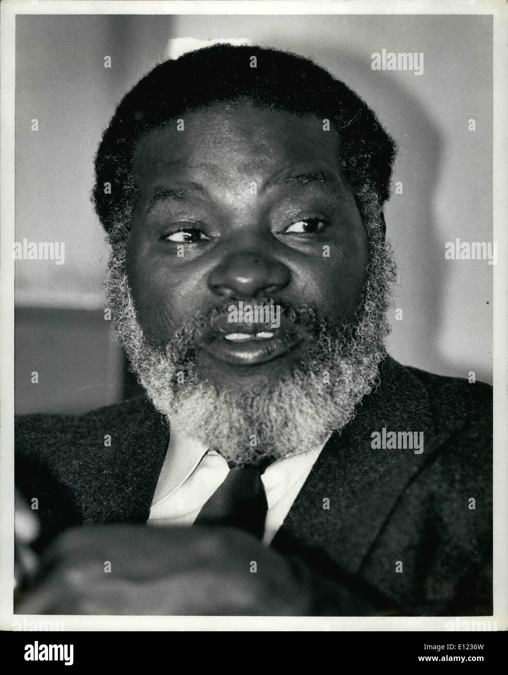 Feb. 02, 1984 - GUERRILLA LEADER SAM NUJOMA, PRESIDENT OF THE SOUTH WEST AFRICA PEOPLE'S ORGANIZATION, SAID HIS MEN WOULD CONTINUE TO FIGHT INSIDE NAMIBIA (SOUTH WEST AFRICA) WHILE OBSERVING A RECENTLY CONCLUDED DISENGAGEMENT ACCORD BETWEEN ANGOLA AND SOUTH AFRICA. MR. NUJOMA, ON THE TAIL END OF A TRIP THAT HAS TAKEN HIM TO SIX COUNTRIES MADE HIS REMARKS DURING AN INTERVIEW AT THE UNITED NATIONS HOTEL IN NEW YORK CITY. ''THE FIGHT IN NAMIBIA WILL CONTINUE, BECAUSE THERE IS NO CEASE-FIRE IN NAMIBIA'' MR. NUJOMA SAID THOUGH HE ADDED THAT SWAPO WAS READY TO SIGN A CEASE-FIRE WITH SOUTH AFRICA. O - Stock Image