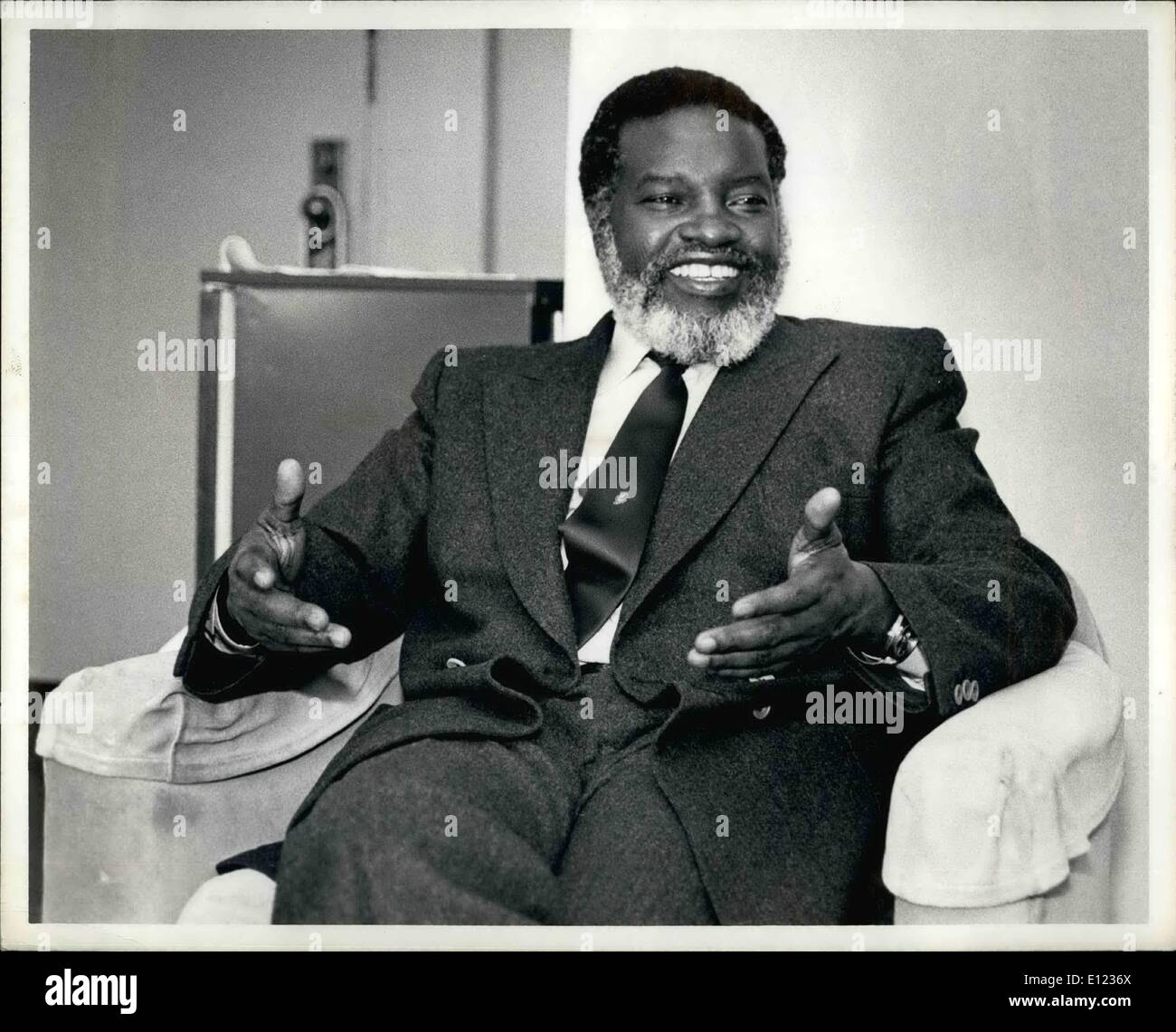 Feb. 02, 1984 - Guerrilla leader Sam Nujoma, President of the South West Africa People's Organization, said his men would continue to fight inside Namibia (South West Africa) while observing a recently concluded disengagement accord between Angola and South Africa. Mr. Nujoma, on the tail end of a trip that has taken him to six countries made his remarks during an interview at the United Nations Hotel in New York City. ''The fight in Namibia will continue, because there is no cease-fire in Namibia'' Mr. Nujoma said through he added that swapo was ready to sign a cease-fire with South Africa - Stock Image