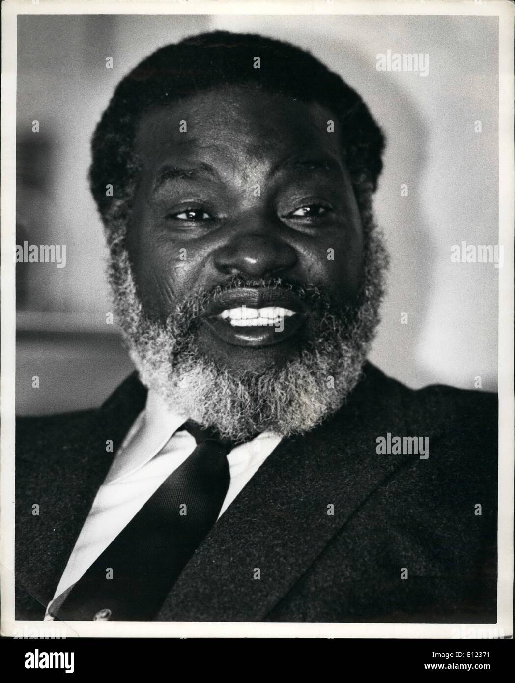 Feb. 02, 1984 - Guerrila Leader Sam Nujoma, President of the South West Africa people's organization, said his men would continue to fight inside Namibia (South West Africa) while observing a recently concluded disengagement accord between Angola and South Africa. Mr. Nujoma, on the tail end of a trip that has taken him to six countries made his remarks during an interview at the United Nations hotel in New York City. ''The fight in Namibia will continue, because there is no cease-fire in Namibia''. Mr. Nujoma said though he added that Swapo was ready to sign a cease-fire with South Africa - Stock Image