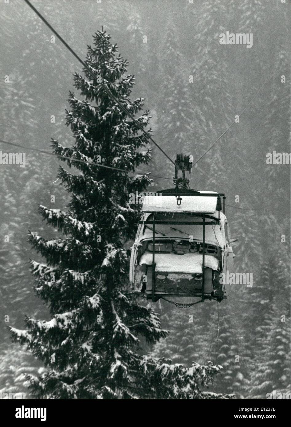 Feb. 02, 1984 - Special aerial cableway for students. An old VW beetle has been installed on the platform of a cargo aerial cableway to help out the few students in Schwesteregg (Entlebuch) who have a difficult pat down to the valley in winter time. Keystone Zurich 2-27-84 - Stock Image