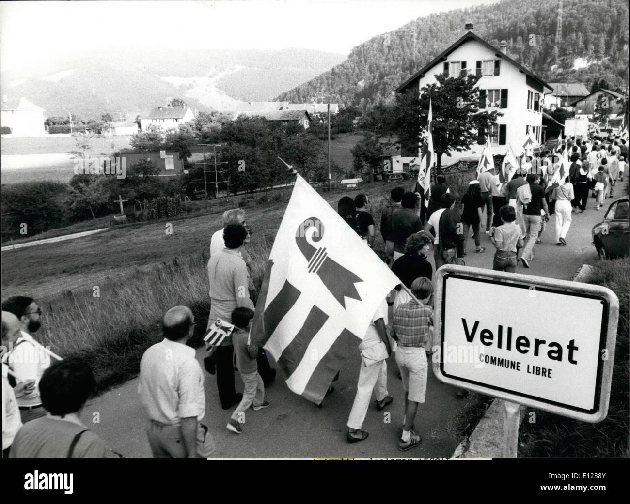 Aug. 08, 1982 - Vellerat - a municipality    independent: With a march and a popular festival the small municipality - Stock Image