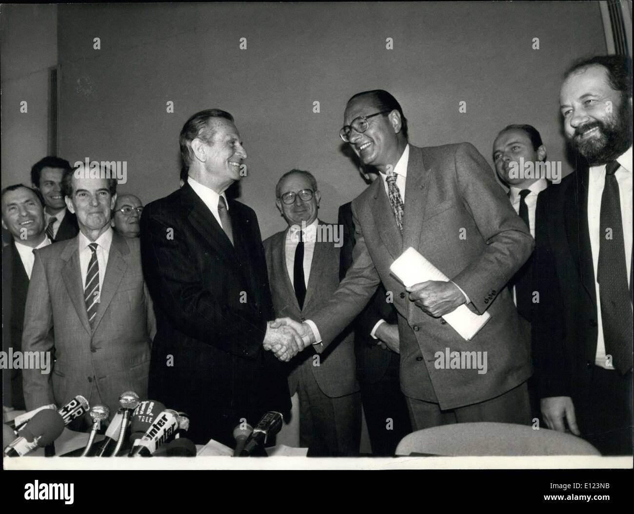 Apr. 10, 1985 - Chirac is President of the Rally for the Republic (RPR) and Lecanuet is President of the Union for French Democracy (UDF). They signed an agreement in preparation for the upcoming 1986 elections. - Stock Image