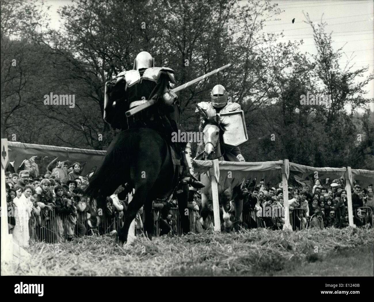 May 13, 1985 - Middle Ages Archers Ceremony Held in Gagny, Paris Suburb - Stock Image