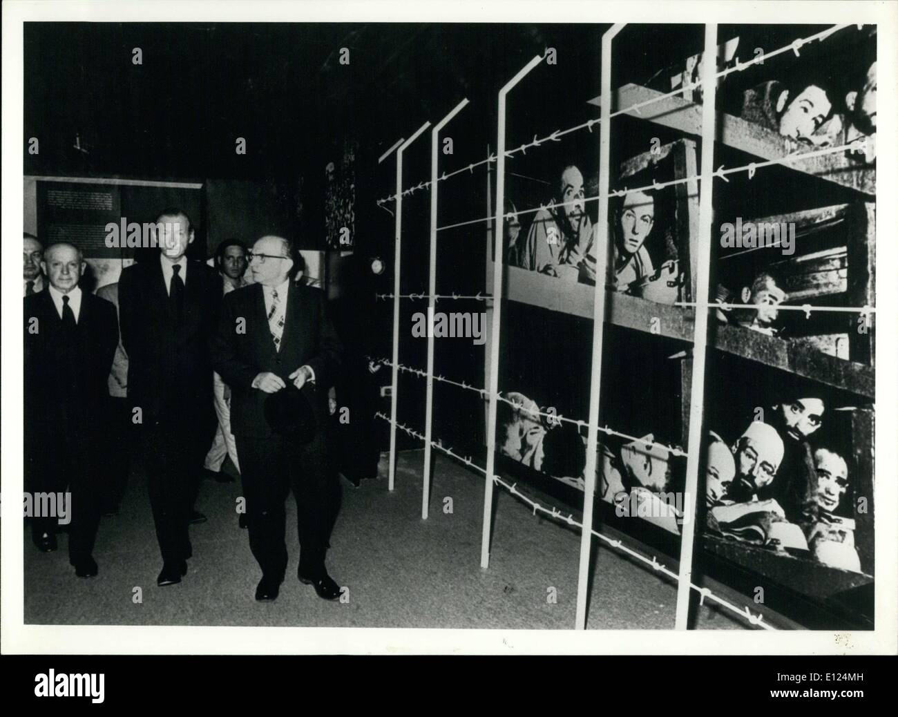Apr. 11, 1986 - The museum is also called the Yad Vashem Museum. There is a picture of the Mathausen concentration camp on the right wall. - Stock Image