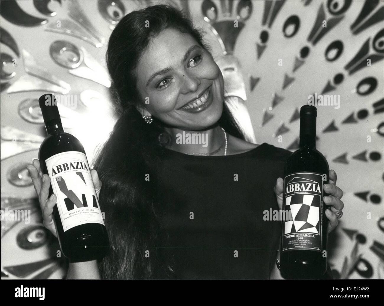 Feb. 02, 1991 - Sweeter than wine: Italian actrees Ornella Muti presented the wine of her own wineyard of Alto Monferrato Stock Photo