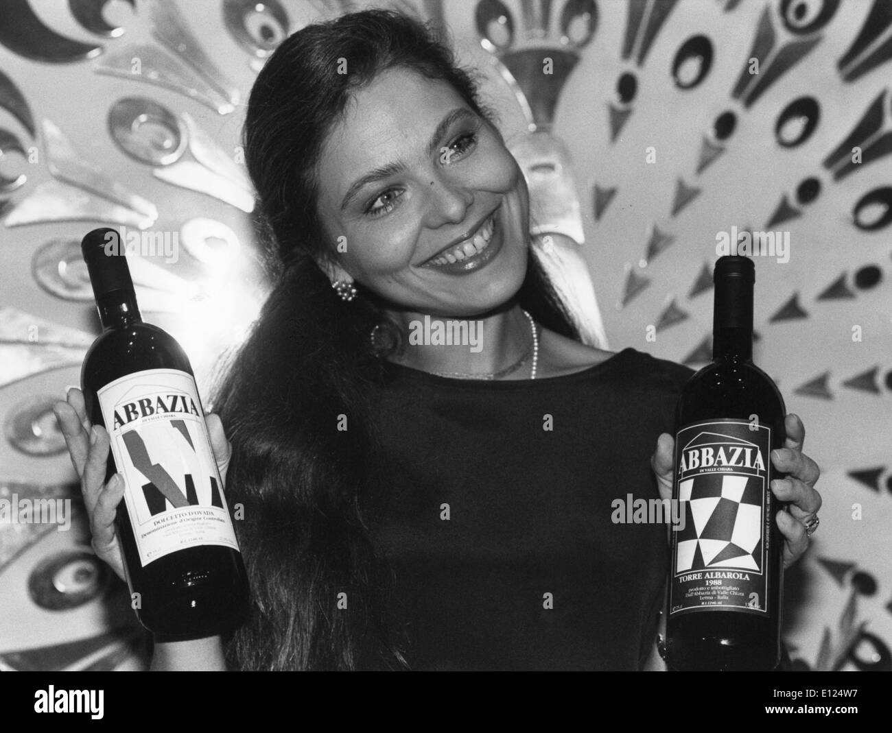 Mar. 2, 1991 - Zurich, Switzerland - Actress ORNELLA MUTI presented the wne of her own vineyard of Alto Monferrato. Stock Photo