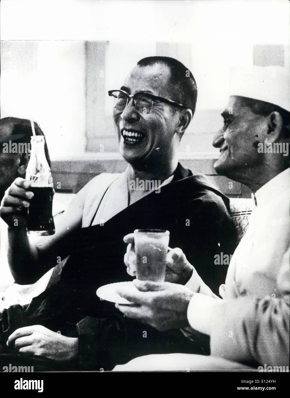 Aug. 08, 1986 - The Dalai Lama of Tibet at reception in New Delhi. Photo shows the Dalai Lama of Tibet, pictured with the Governor of Kittar Pradesh, Mr. B.N. Dass at a reception in New Delhi recently. - Stock Image