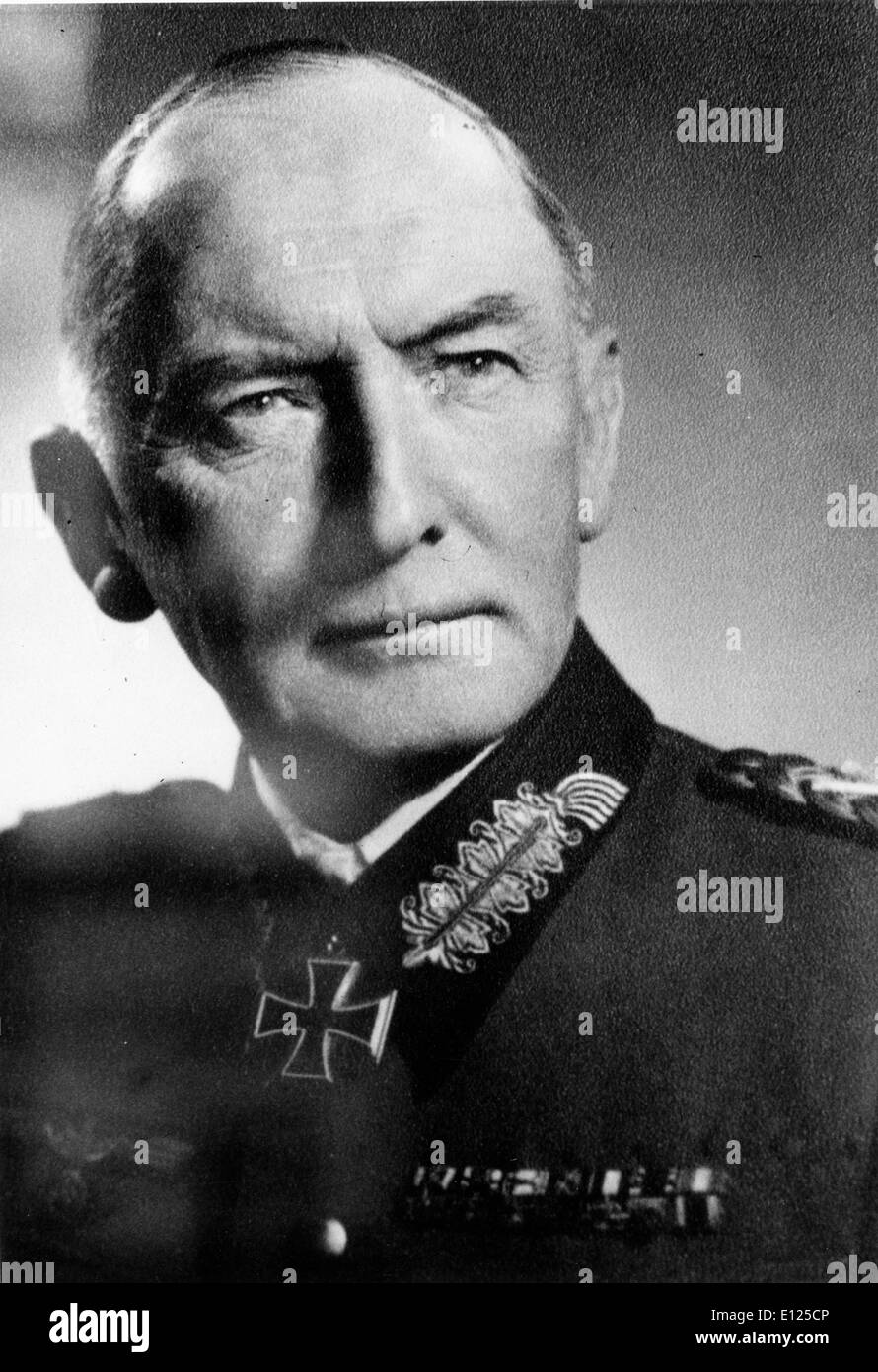 Field marshall ERWIN VON WITZLEBEN before he was arrested and executed for assassination attempt against Hitler - Stock Image
