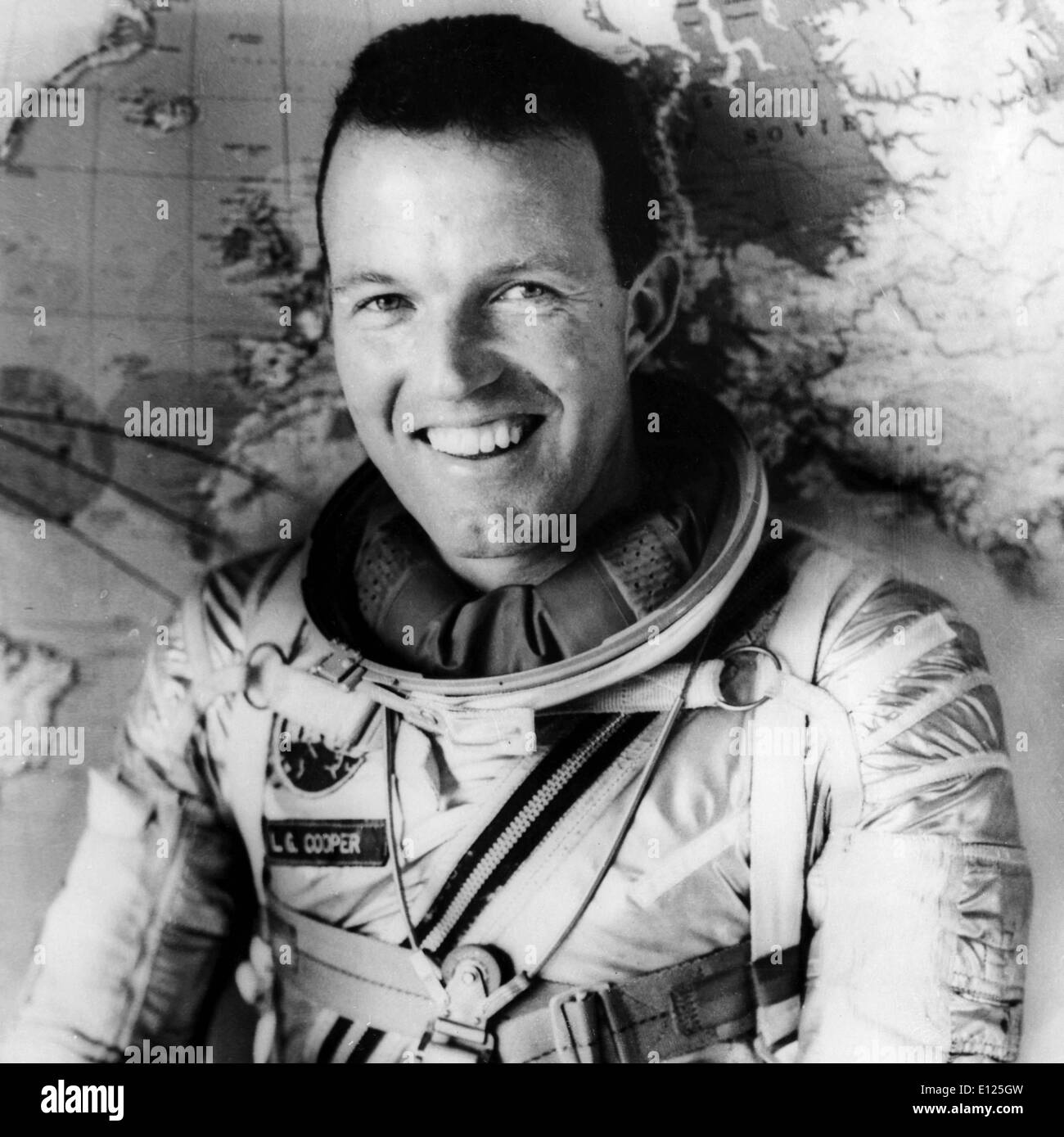 Oct 04, 2004; Cape Canaveral, FL, USA; (File Photo: 07/26/1065) Leroy Gordon Cooper, Jr., ) an original Mercury 7 astronaut, died October 10, 2004 at his home in Ventura, Calif. He was 77 years old. Cooper piloted the sixth and last flight of the Mercury program and later commanded Gemini V. Pictured: American astronaut LT. COLONEL GORDON COOPER, will be in the Gemini V space-craft, which will be in orbit for eight days . LT. COOPER has already done twenty-two orbits on his own.. (Credit Image: KEYSTONE Pictures USA/ZUMAPRESS.com) - Stock Image