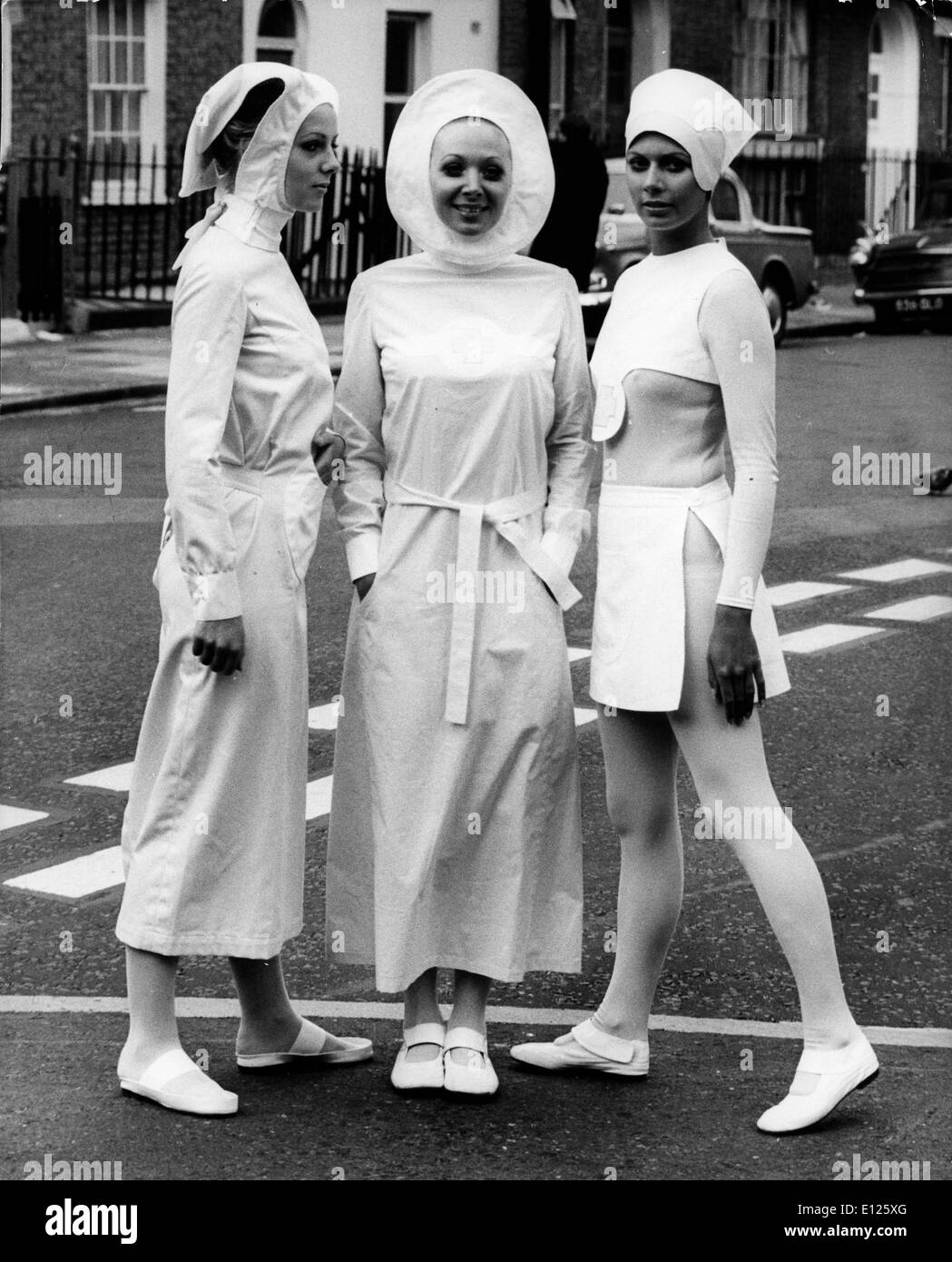 Mar 29, 2006; London, England, UK; (File Photo: Oct. 25, 1970) Models show revolutionary design for new uniforms for nurses by PIERRE CARDIN at the press preview of the London Nursing Exhibition. Cardin designed these uniforms with a new use of colors and design to maximize movement, freedom, and hygiene. (Credit Image: KEYSTONE Pictures USA/ZUMAPRESS.com) - Stock Image