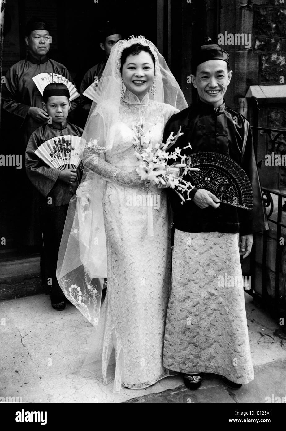 Mar 29, 2006; London, England, UK; (File Photo: Jul. 23, 1955) GRACIA TAY, actress from Singapore who played in 'Teahouse of the August Moon' marrying Mr. CHEE KENG LONG, student of the School of Economics, at St. John's Presbyterian Church. (Credit Image: KEYSTONE Pictures USA/ZUMAPRESS.com) - Stock Image